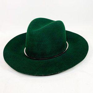 JANESSA LEONE Dark Green Wool Fedora Hat